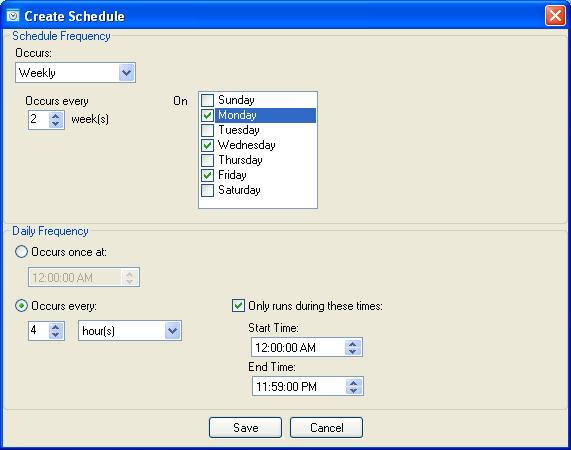 OnTime V8.1 Alert Schedule